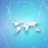 Världskarta i perspektiv med skugga på blått Abstrakta anslutningar för globalt nätverk, begrepp för teknologi för geometrisk des Arkivbilder