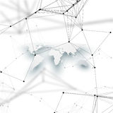 Världskarta i perspektiv med skugga på vit Abstrakta anslutningar för globalt nätverk, begrepp för teknologi för geometrisk desig Royaltyfri Fotografi