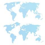 Världskarta i prickar stock illustrationer
