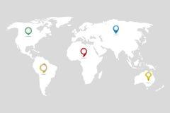 Världskarta i vit med olika markörer på grå bakgrund royaltyfri illustrationer