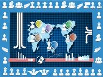 Världskarta Infographics Arkivbild