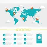 Världskarta Infographics Royaltyfri Bild