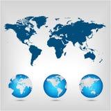 Världskarta. Jordklot. Arkivbild