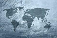Världskarta med abstrakta binära nummer royaltyfri illustrationer