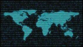 Världskarta med 01 eller binära nummer på datorskärmen på bildskärmmatrisbakgrund, kod för Digitala data i en hacker eller säkerh royaltyfri illustrationer