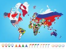 Världskarta med flaggan Arkivbild