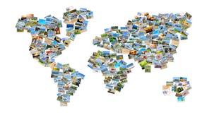 Världskarta med foto arkivfoton