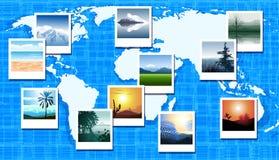 Världskarta med foto av olika geografiska loca stock illustrationer