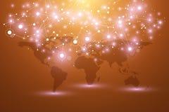 Världskarta med globalt teknologinätverkandebegrepp Visualization för Digitala data Fodrar plexusen Stor databakgrund royaltyfri illustrationer