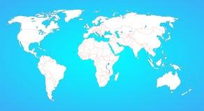Världskarta med gränser mellan alla länder royaltyfri illustrationer