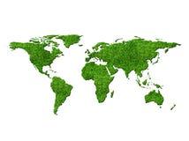 Världskarta med gräs Arkivfoto