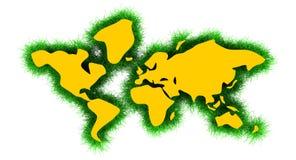 Världskarta med gräs Arkivbild