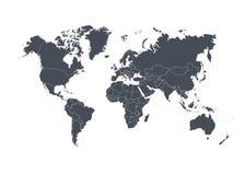 Världskarta med länder som isoleras på vit bakgrund också vektor för coreldrawillustration stock illustrationer