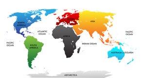 Världskarta med markerade kontinenter