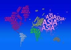 Världskarta med namn av kontinenter. - Typoöversikt Fotografering för Bildbyråer