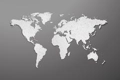 Världskarta med pappers- textur på grå bakgrund royaltyfri illustrationer