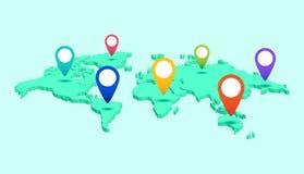 Världskarta med pekareetiketter av kontinenter och länder isometriskt stock illustrationer