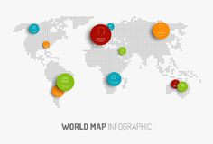 Världskarta med pekarefläckar Arkivfoton