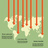 Världskarta med pilar och information Arkivbild