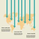 Världskarta med pilar och information Arkivfoton