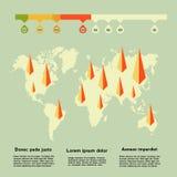 Världskarta med pilar och information Royaltyfri Fotografi