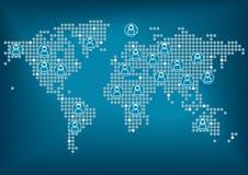 Världskarta med prickar Män och kvinnor globalt förbindelse via socialt nätverk Arkivfoto