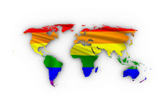 Världskarta med regnbågeflaggan Fotografering för Bildbyråer