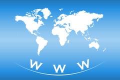 Världskarta med rengöringsduk- och internetbegrepp Arkivbilder
