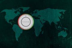 Världskarta med termostaten, global uppvärmning & klimatförändring Arkivfoton
