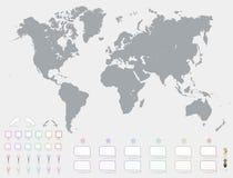 Världskarta med uppsättningen av tomma färgrika pekare och markörvektorn Grey Political World Map Illustration Royaltyfria Bilder