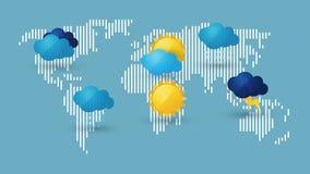Världskarta med vädersymbolen stock illustrationer