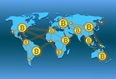 Världskarta med världsnätverket och crypto valutabitcoin Arkivbilder