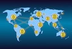 Världskarta med världsnätverket och crypto valutabitcoin Royaltyfria Bilder