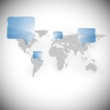 Världskarta med vektorn för bakgrund för dialogaskar Royaltyfri Foto
