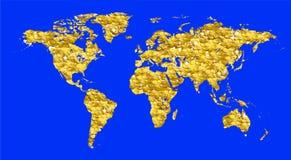 Världskarta mycket av guld- mynt Arkivbilder