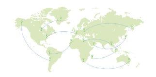 Världskarta- och bananivåer vektor illustrationer
