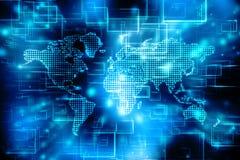 Världskarta- och blockchainjämlike som plirar nätverket, begrepp för globalt nätverk vektor illustrationer