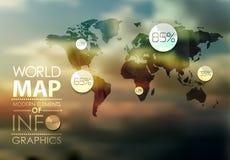 Världskarta- och informationsdiagram stock illustrationer
