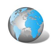 Världskarta och jordklot som isoleras på vit Arkivfoto