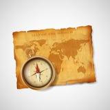 Världskarta och kompass för gammal tappning antik materielillustra Fotografering för Bildbyråer