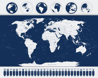 Världskarta- och navigeringsymboler Royaltyfria Bilder