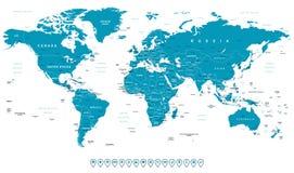 Världskarta- och navigeringsymboler - illustration stock illustrationer