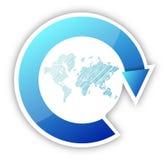 Världskarta- och pilcirkulering Fotografering för Bildbyråer