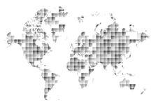 Världskarta på abstrakt triangel- och fyrkantbakgrund Fotografering för Bildbyråer