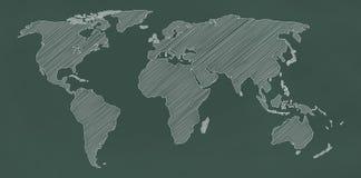 Världskarta på den svart tavlan stock illustrationer