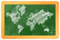 Världskarta på en svart tavla Royaltyfri Fotografi