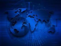 Världskarta på en teknologisk bakgrund globala internet för bäst affärsidé royaltyfri illustrationer