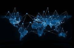 Världskarta på en teknologisk bakgrund globala internet för bäst affärsidé Beståndsdelar av detta bild som förbi möbleras stock illustrationer