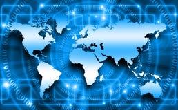 Världskarta på en teknologisk bakgrund som glöder vektor illustrationer