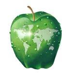Världskarta på ett äpple Arkivbild